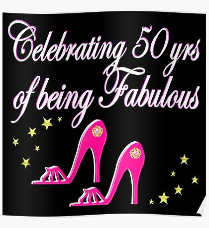 PRETTY PINK SHOES 50TH BIRTHDAY DIVA DESIGN Poster