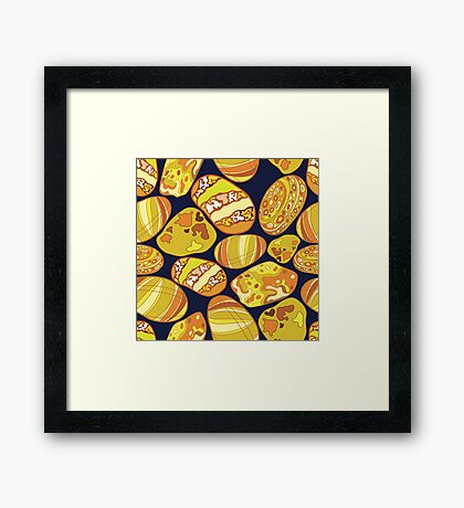 Pattern of stones gold color on a dark purple background Framed Print