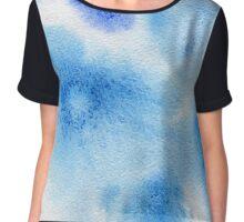 Watercolor texture transparent marble spots blue color. Chiffon Top