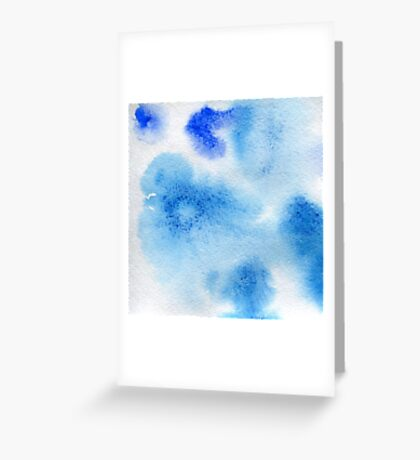 Watercolor texture transparent marble spots blue color. Greeting Card