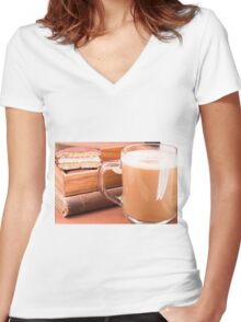 Glass mug with hot chocolate and biscuits in a wooden tray Women's Fitted V-Neck T-Shirt