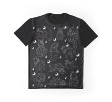 Sailor Cat in Black Pattern Graphic T-Shirt