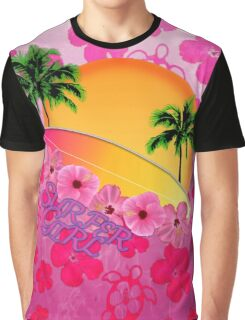 Surfer Girl Pink Hibiscus Graphic T-Shirt