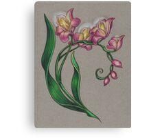 Edison Bulb Orchids Canvas Print
