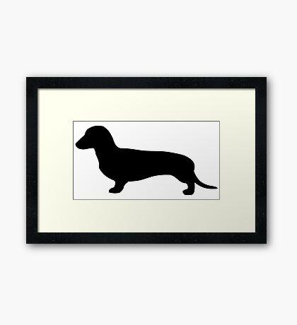 Louie The Dachshund | Black Framed Print