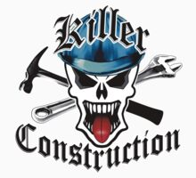 Construction Skull 2 with Crossed Tools Blue Kids Clothes