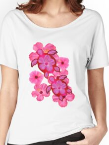 Pink Hibiscus And Honu Turtles Women's Relaxed Fit T-Shirt