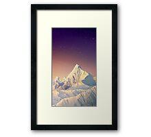 Snowy Mountain & Stars Framed Print