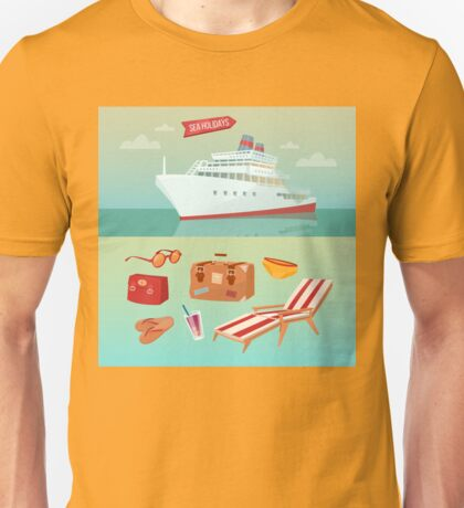Sea Holidays Concept with Cruise Ship and Summertime Elements Unisex T-Shirt