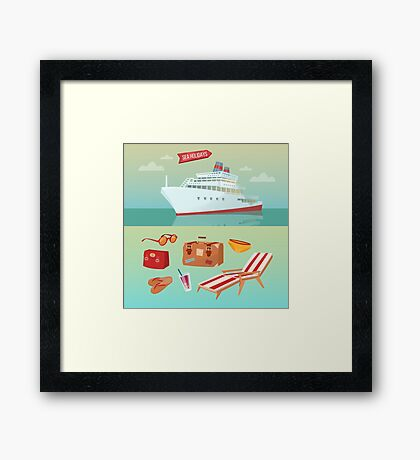 Sea Holidays Concept with Cruise Ship and Summertime Elements Framed Print