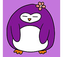 Purple Flower Penguin Photographic Print
