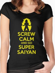 Screw Calm And Go Super Saiyan - Keep Calm DBZ Parody Women's Fitted Scoop T-Shirt