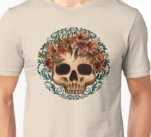 Skull with flowers crown and blue ornament Unisex T-Shirt