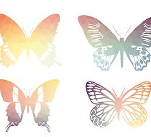 Butterflies, colorful geometric, pastel by AnnaGo