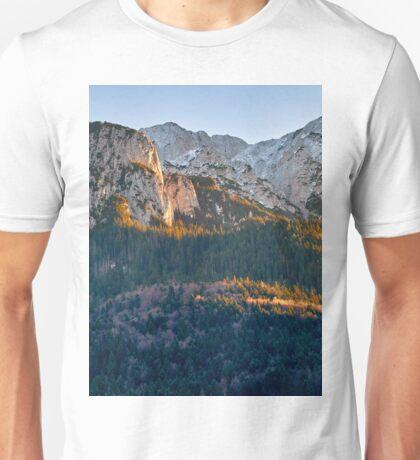 Panorama of mountain peaks Unisex T-Shirt