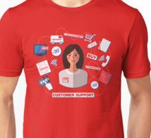 Customer Service Concept with Woman. Support Call Center. Unisex T-Shirt