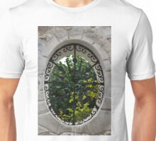 A Lush Garden Framed in a Fence Window Unisex T-Shirt