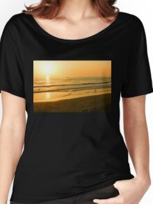 Glossy Gold and Surfers - Sunset on the Beach in California  Women's Relaxed Fit T-Shirt