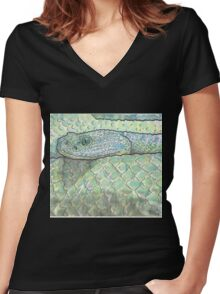 Snake watercolor study Women's Fitted V-Neck T-Shirt