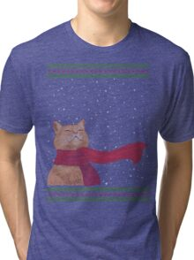 Tabby loves Snow (Knitted-version) Tri-blend T-Shirt