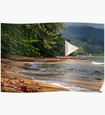 A sailboat In Hanalei Bay Poster