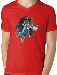 Zelda Breath Of The Wild (LINK) Nintendo Switch Mens V-Neck T-Shirt