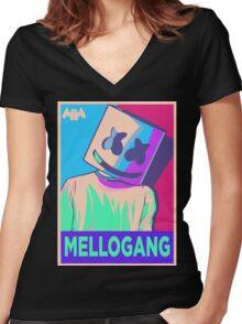 Marshmello Mellogang Neon Women's Fitted V-Neck T-Shirt