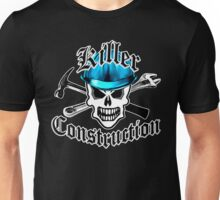 Construction Skull 2.1 with Crossed Tools Blue Unisex T-Shirt