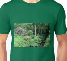 Garden and stream, highlands,Scotland Unisex T-Shirt