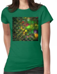 Orange Green Cubes Womens Fitted T-Shirt