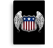 Winged American Shield (Black) Canvas Print