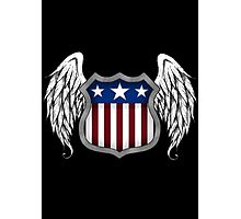 Winged American Shield (Black) Photographic Print