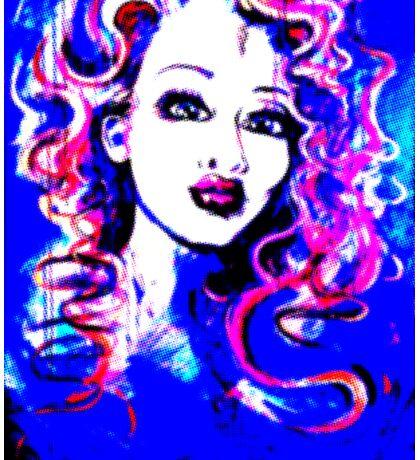 Raw Looks - Woman's Face Painting Digital Half Tone Sticker