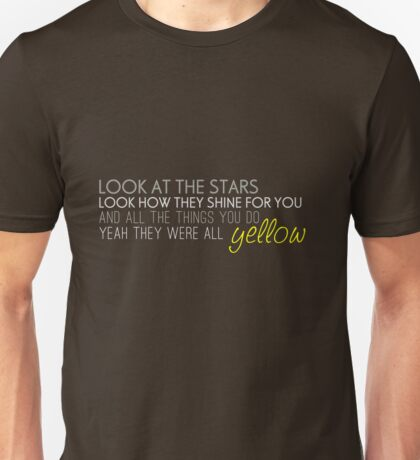 "Coldplay ""Yellow"" Lyrics Unisex T-Shirt"