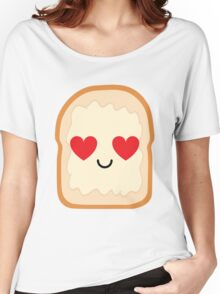 Bread with Butter Spread Emoji Heart and Love Eye Women's Relaxed Fit T-Shirt