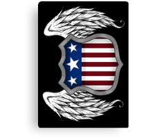 Winged American Crest (Black) Canvas Print