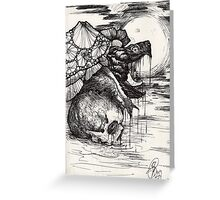 snapping turtle pen and ink Greeting Card