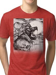 snapping turtle pen and ink Tri-blend T-Shirt
