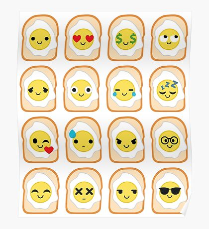 Bread with Egg Emoji Different Facial Expression Poster