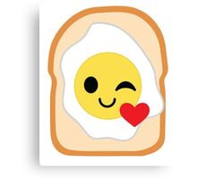 Bread with Egg Emoji Flirt and Blow Kiss Canvas Print