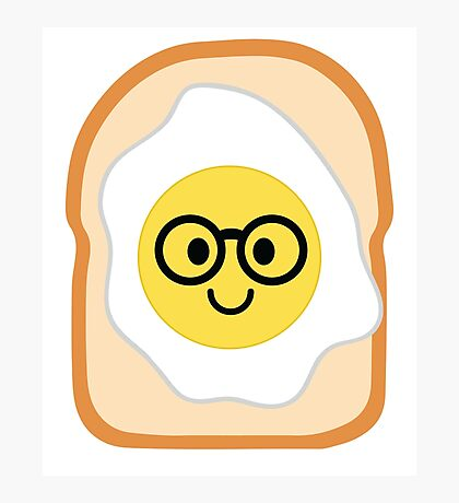 Bread with Egg Emoji Nerd Noob Glasses Photographic Print