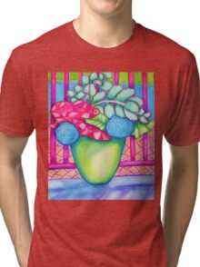 Flowers by the pool Tri-blend T-Shirt