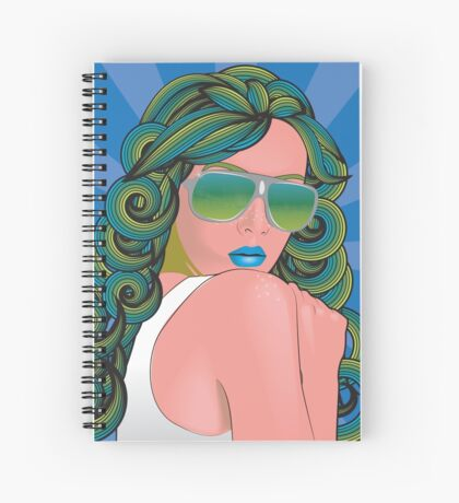 Psychedelic Girl-blue Spiral Notebook