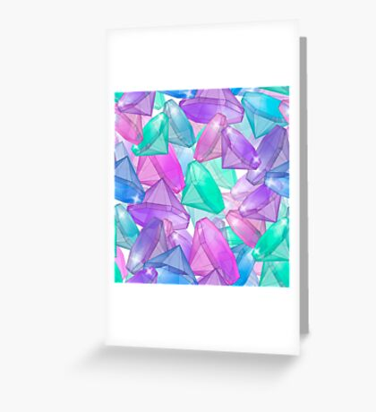 Placer precious stones . White background .  Greeting Card