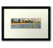 Spring Flower Fields Landscape Painting Triptych Framed Print