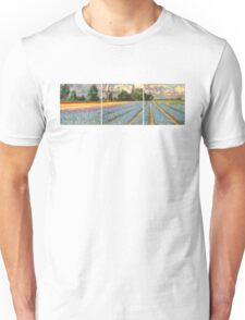 Spring Flower Fields Landscape Painting Triptych Unisex T-Shirt