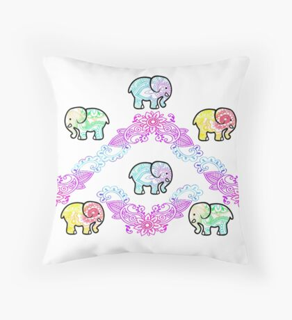 Tie Dye Cute Elephant Pack of 6 Throw Pillow