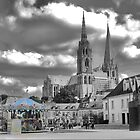 Chartres Cathedral ( 6 ) with Carousel by Larry Lingard-Davis