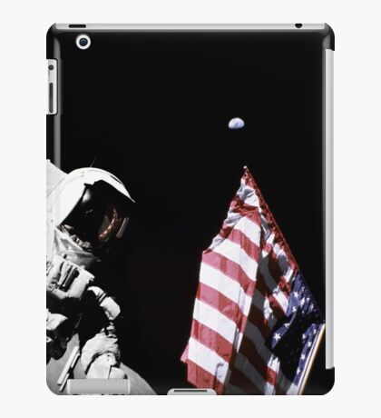 Astronaut stands next to the American flag during extravehicular activity. iPad Case/Skin
