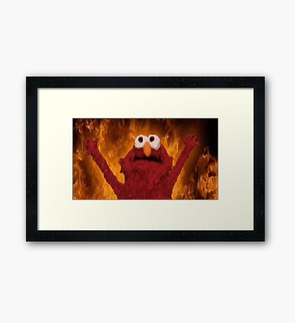 Elmo with flames Framed Print
